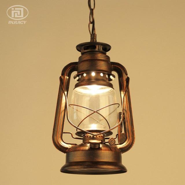 Vintage Edison Industrial Antique Lantern LED Pendant Lights Wrought Iron Glass Oil Kerosene Waterproof Ceiling Lamp