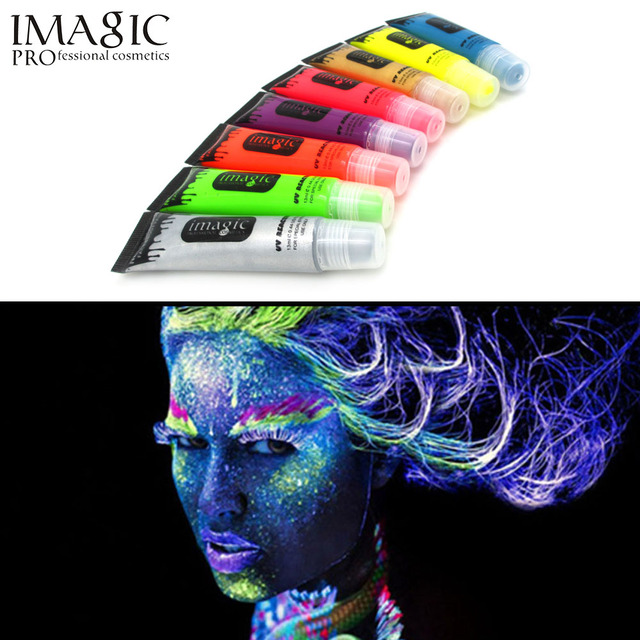 Imagic неоновый УФ лица и тела Картина органа Картина краски флуоресцентные краски карнавал тела окрашены 8 цветов