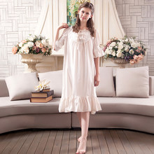 d013ac95c238454 Винтажная Ночная одежда женские платья для сна ночная рубашка принцессы  Летняя красивая одежда в стиле ретро