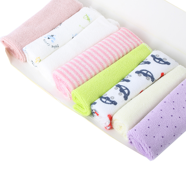 8pcs Kids Baby Towel Toddler Infant Bath Towels Mix Kerchief Wipe Washcloth