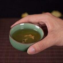 4 Farben Schalen Für Tee Tasse Golden Fish Cup Chinesischen Longquan Celadon Tee-Set Porzellan Tassen