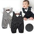 Menino da criança Do Bebê Macacão Cavalheiro do bebê novo estilo de casamento e festa de manga curta bebê meninos roupas cortadas macacão roupas recém-nascidos