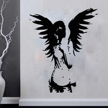 New arrival diy wall art ANGEL sticker giant banksy guardian bedroom decal fairy vinyl stickers home decoration
