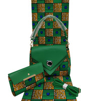 High quality wax with hand bag african wax prints fabric women hand bag african wax for sewing dress h180522
