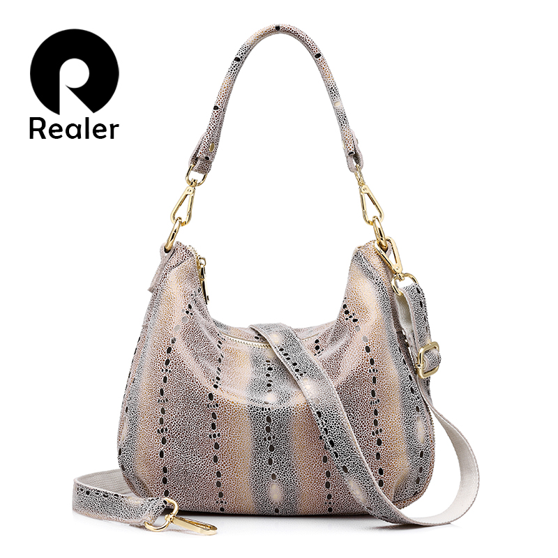 REALER brand women genuine leather handbag female shoulder crossbody bag design hobos top-handle tote bag ladies messenger bags