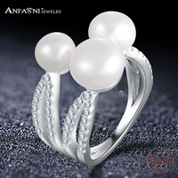 ANFASNI Real 925 Sterling Silver Trendy Ring For Women Fine Jewelry Rins With 3 Pearls Adjustable