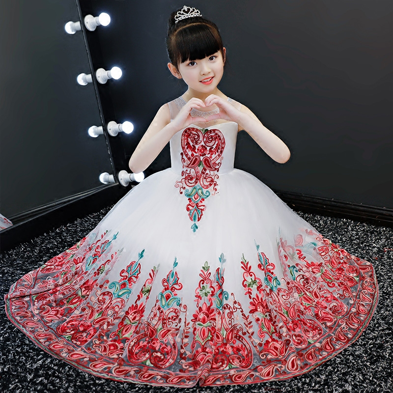 2018 winter girls fancy embroidry floral maxi dresses kids formal princess long dress children birthday party prom dresses