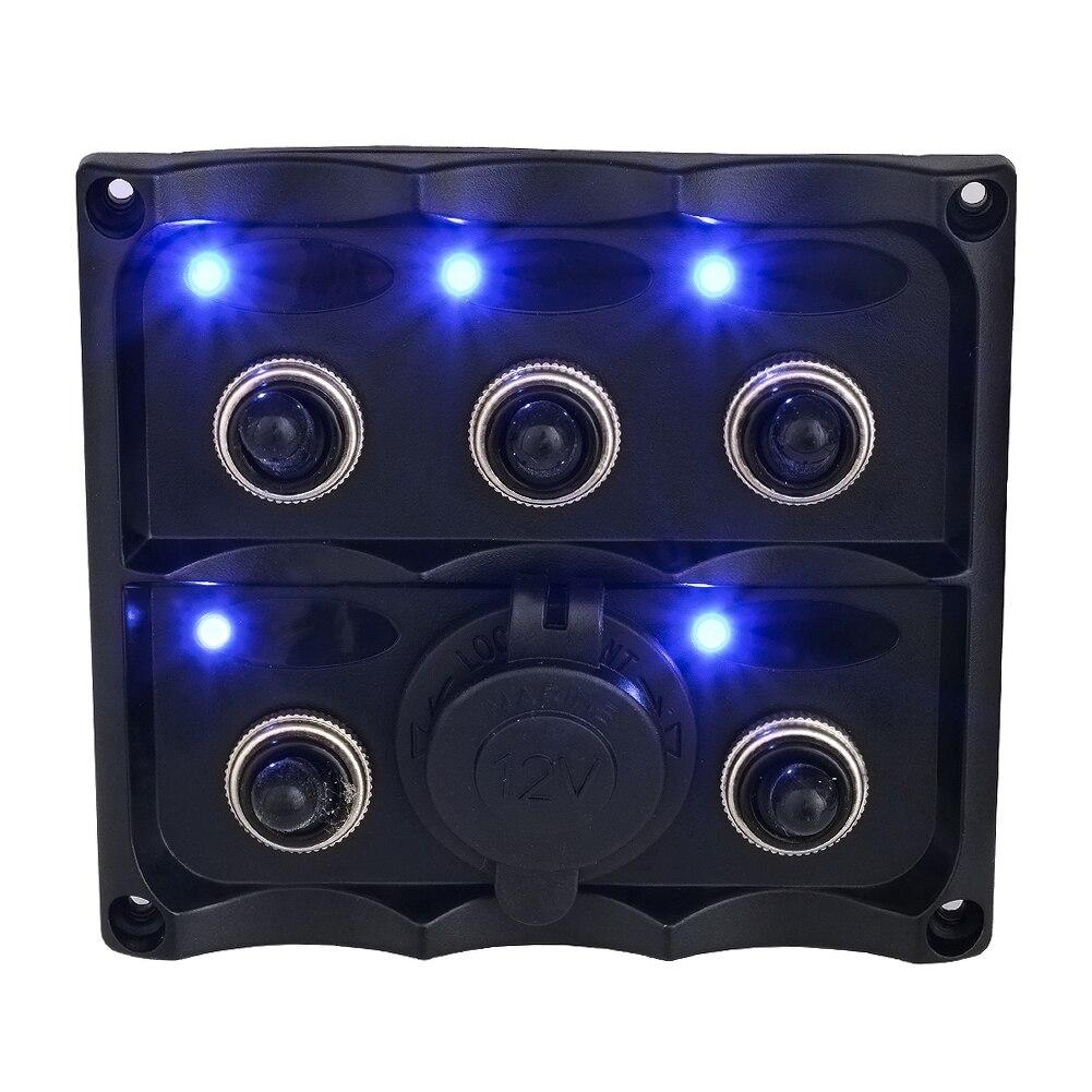Panneau de commutateur marin 6 Gang anti-projections à bascule LED indicateur arrière 12/24 volts