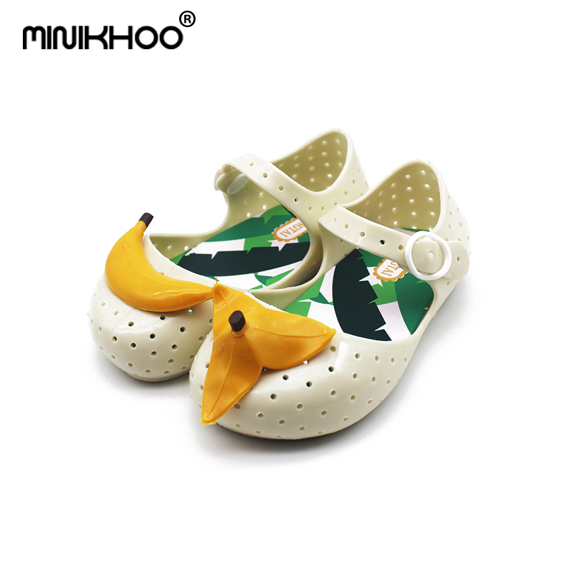 Mini Melissa Cute Banana Brazil Girl Jelly Sandals 2018 New Children Shoes Non-slip Melissa Girls Sandals Baby Princess Shoes