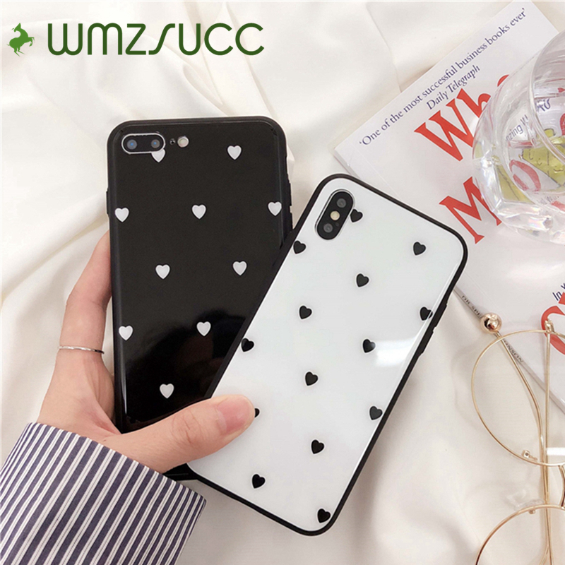 WMZSUCC Little Hearts Black White Glass Phone Cover Case