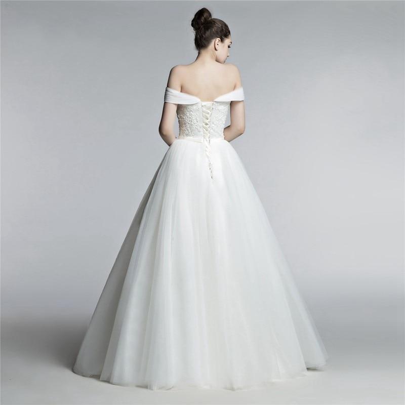 New Arrival Ivory Plus size Wedding dresses Lace Beaded Pearls Off the shoulder trouwjurk vestido branco boda Wedding dress