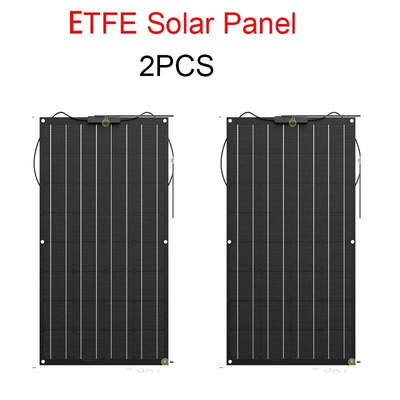 2 pcs ETFE Panneau Solaire 100 w 200 w Flexible Noir Classe-Un solaire monocristallin cellule solaire 12 v ou 24 v dc panneaux 100 watt