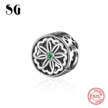 SG New Arrivals 925 Sterling Silver flower Charm with green CZ Beads Fit Original pandora Bracelet Pendant Jewelry making Gifts цена и фото