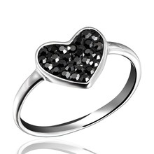 New style! Dormith Free Shipping 925 Sterling Silver Fashion Black Heart  Czech Diamond Rings with tail rings DOR0107