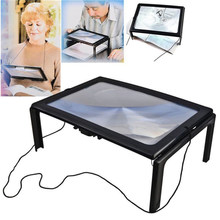 Leitura 3x lupa página completa óptica ampliação dobrável a4 lente led mesa lupa para costura tricô