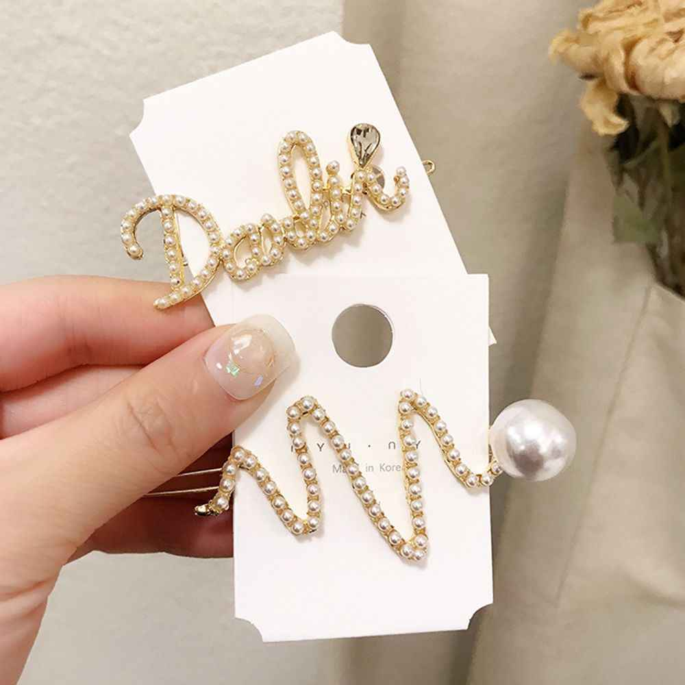 Korea 2019 New Sweet Hair Jewelry Accessories English Letter Imitation Pearl Hairpins Geometric Irregular Hair Clips Drop ship