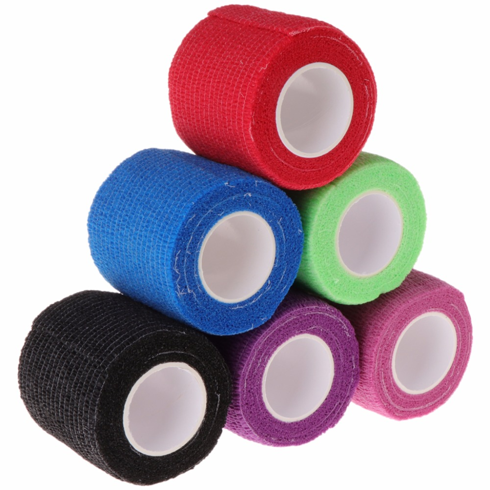 Free Shipping 6pcs Disposable Self-adhesive Elastic Bandage For Handle Grip Tube Tattoo