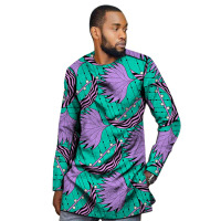 African clothing men's shirt slim fit ankara o neck print tops customize for wedding wear male formal Africa tops