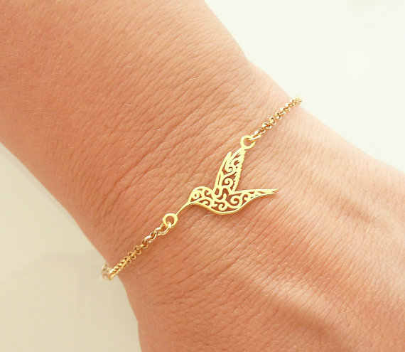 Jisensp New Link Chain Cute Origami Hummingbird Bracelet for Women Fashion Animal Flying Bird Charm Bracelets Bangles Party Gift