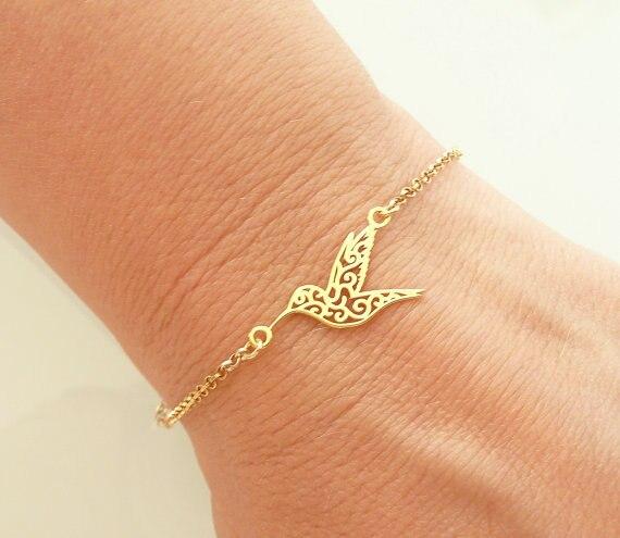 Женский браслет с цепочкой Jisensp, милый браслет с колибри из оригами, модные вечерние браслеты в виде летающих птиц