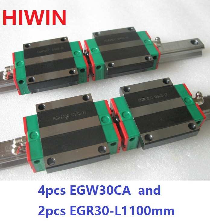 2pcs 100% original HIWIN linear rail guide EGR30 -L 1100mm + 4pcs EGW30CA linear flange block carriage for CNC router 2pcs 100% original hiwin linear guide rail egr30 l 1800mm 4pcs egh30ca linear block cnc router