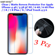 3 piezas para Apple iPhone 4 4S 5 5S 5C 6 6 S 7 7 Plus X para iPod Touch protector de pantalla táctil HD transparente/antideslumbrante mate(China)