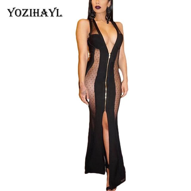 Yozihayl Women Sleeveless Polka Dot Dress See Through Mesh Black Full  Zipper Sexy Dress Patchwork Long Maxi Dress Party Clubwear f0edc9fc9677