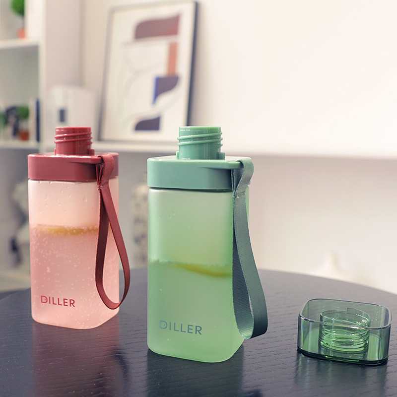 400ml Cute water bottle for chidren square portable ourdoor drinking sport fitness plastic drink bottles