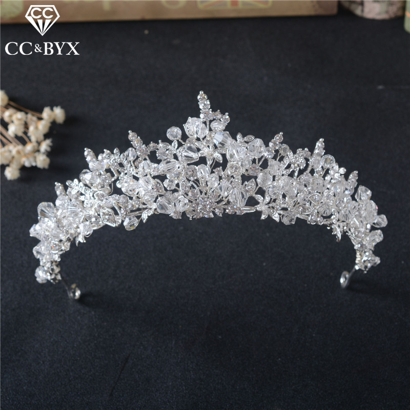 CC Tiaras And Crowns Hairbands Baroque Style Engagement Wedding Hair Accessories For Bride Fashion Jewelry Shine CZ Stone HG853