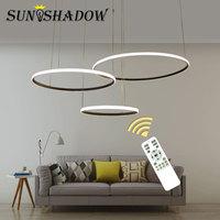 Circle Rings Modern Led Ceiling Light For Home Living room Bedroom Dining rooom Lustres Ceiling Lamp Black White Lampare de tech
