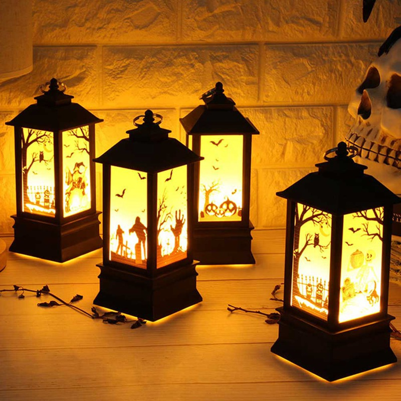 Halloween Pumpkins/Ghost Hand/Castle LED Lights Artificial Flame Light Small Oil Lamp LED Party Supplies Halloween Decor