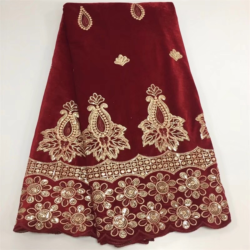 5yards pc high quality wine red African velvet lace fabric smooth with beautiful sequins embroidery