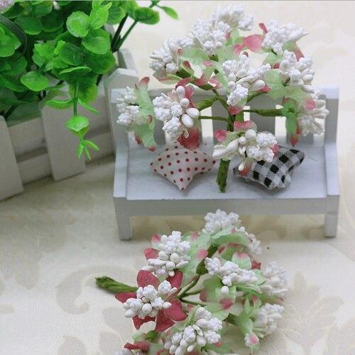 CCINEE 12 шт./лот Пены Искусственный цветок с тычинкой провода стволовых/брак тычинки и листья Свадебная коробка украшения