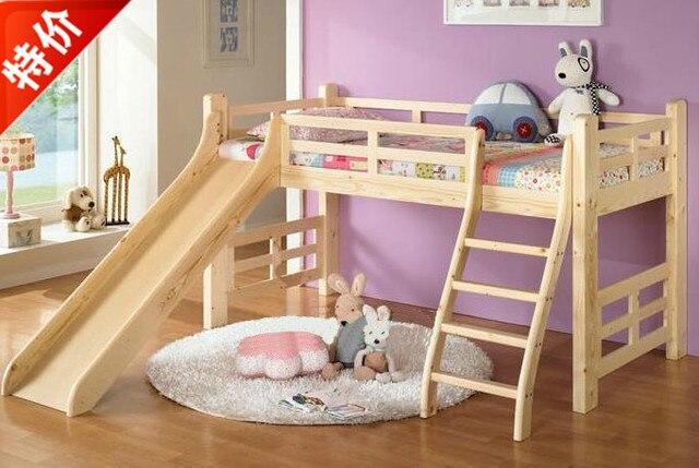 Cama de madera barata con toboganes para niños y media altura de la ...