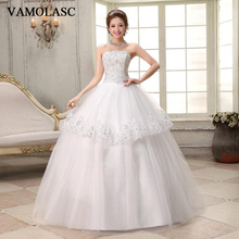 VAMOLASC Crystal Strapless Tiered Lace Appliques Ball Gown Wedding Dresses Off The Shoulder Backless Bridal Gowns