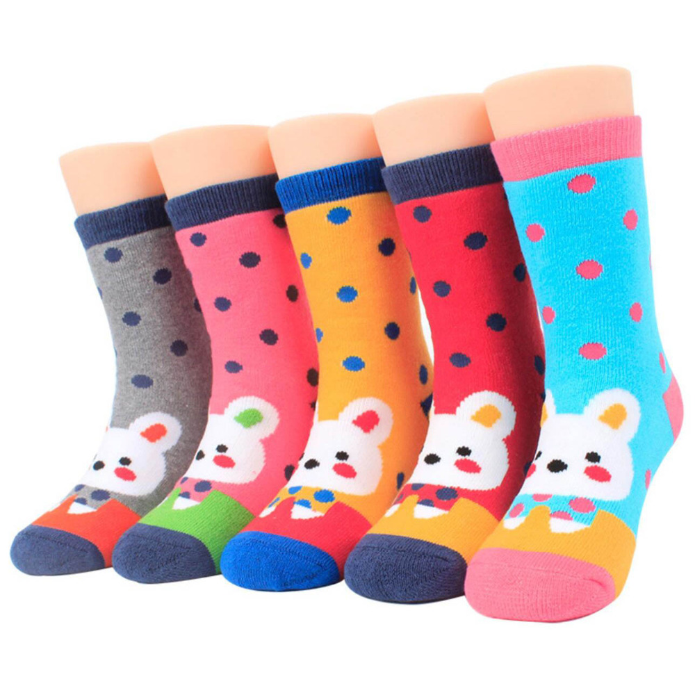 Baby Socks Girls boys 1-5 Years Thick Cotton Soft Kid Socks Carton Pattern 5 Pairs