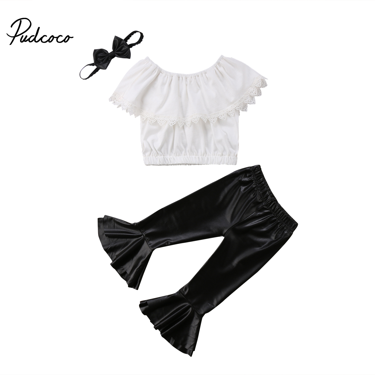 2018 Brand New Toddler Infant Kid Baby Girl Clothes Set Strapless Tops PU Leather Flare Pant Headband 3Pcs Summer Ruffled Outfit infant tops pants love pattern headband baby girl outfit set clothing 3pcs kid children baby girls clothes long sleeve