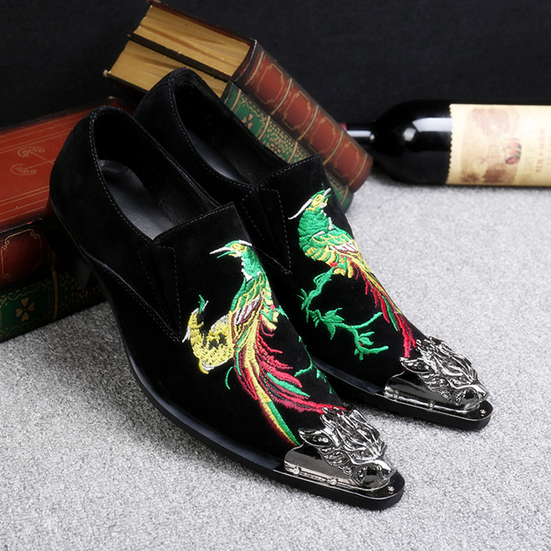 Embroidery Phoenix Casual Shoes Metal Skull Pointed Toe Men Party Wedding Shoes Slip-on Dress Shoes Lazy shoes zapatos hombre free shipping wholesale black brown perlon strap braided watch strap 20mm watchband with buckle