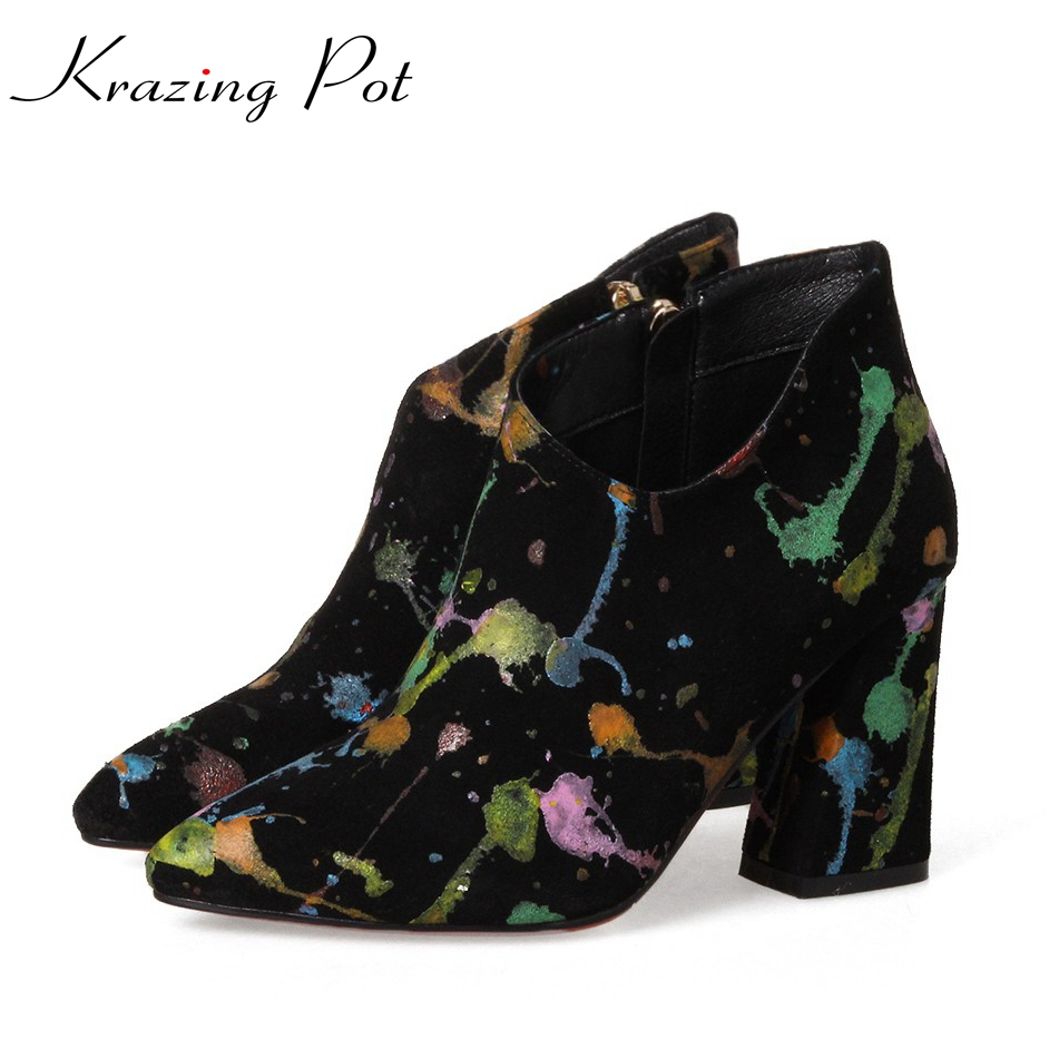 Krazing Pot 2018 Cow Suede Graffiti Tattoo Design Shoes Women Super Thick High Heels Zipper Pointed Toe Beauty Ankle Boots L2f5