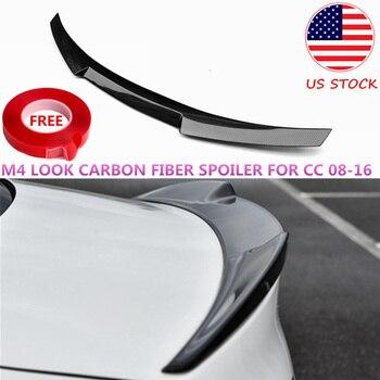 Bat-style m4 olhar 3 k spoiler de fibra de carbono para volkswagen cc traseiro tronco boot splitter asa sport edition 2008-2016 eua estoque