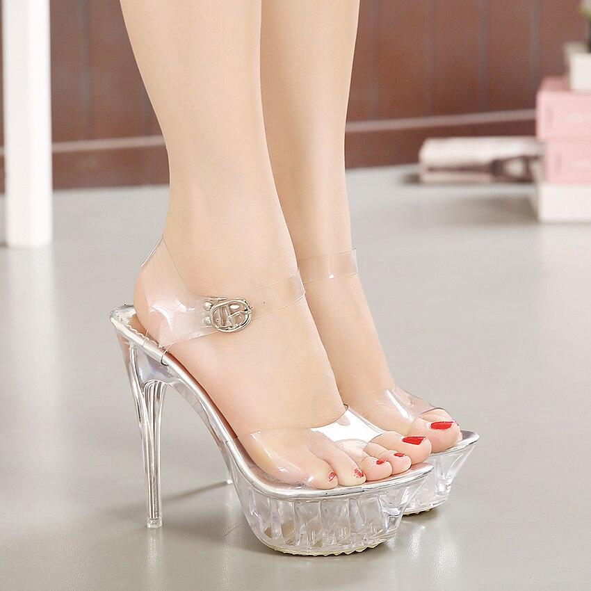 14CM European High Heel Pumps Ladies Crystal Open Toe Women Shoes Pumps Lace Platform Pumps Ankle Strap Ladies Shoes Size 35-42
