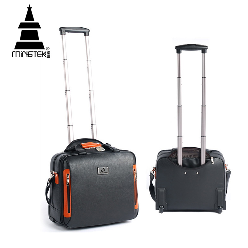 5353c618a9f1c PU Trolley Travel Bag 16inch Business Rolling Luggage Bag On Wheels ...
