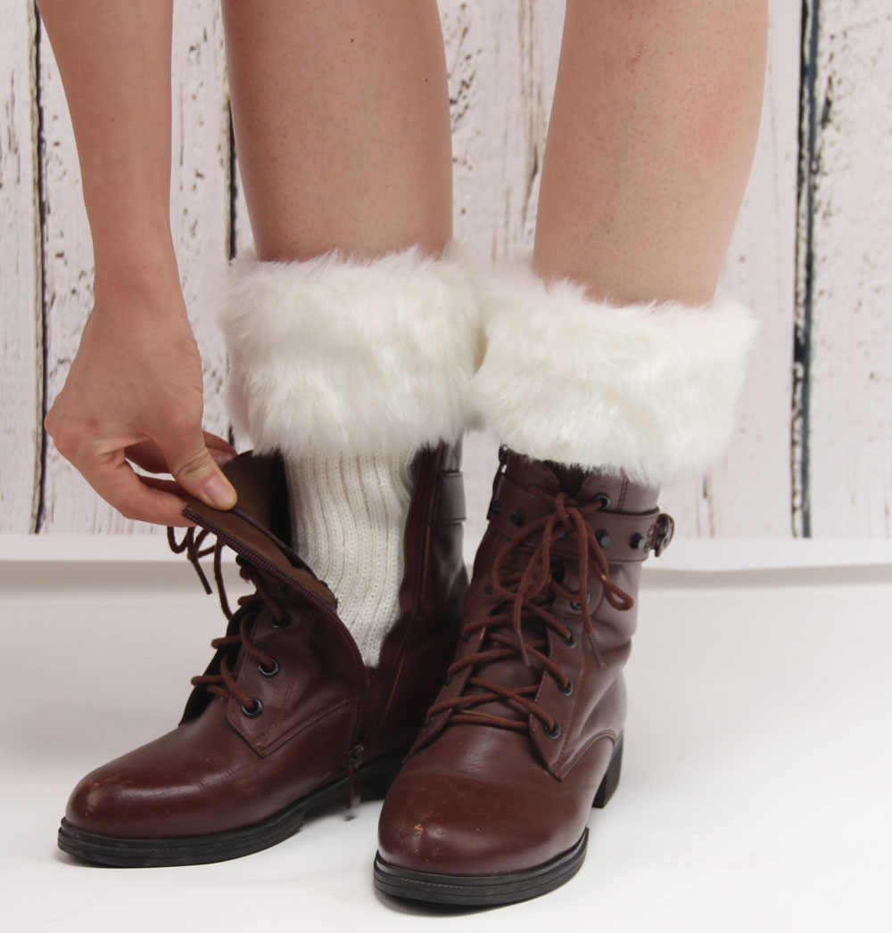 Hot koop Vrouwen Winter Bont Beenwarmers Zachte Faux Fur Boot Manchetten Enkel Knie Boot Sokken winter mode accessoires