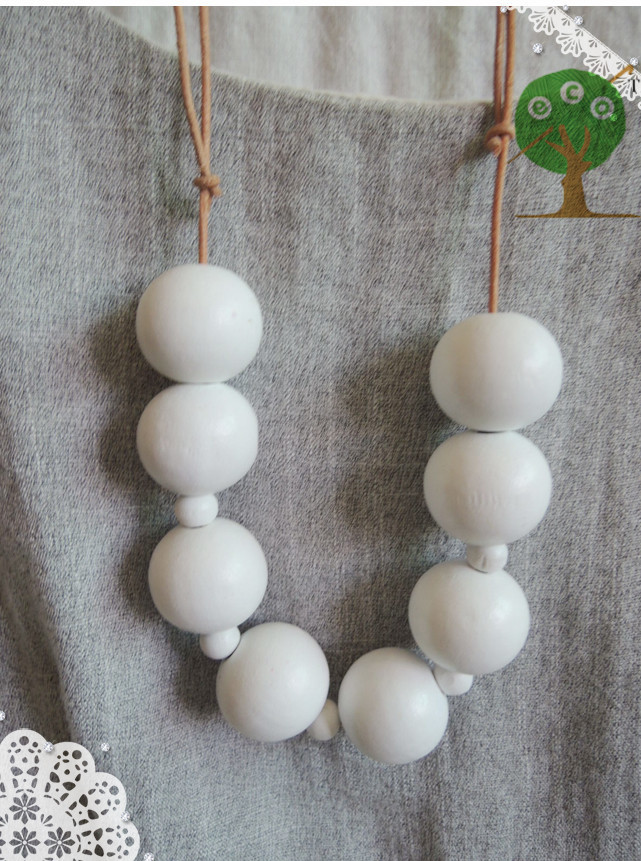 1pc sale White large beaded statement necklace Eco freindly simple color chunky necklace Gift NWr1827