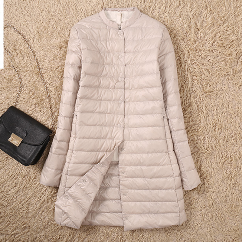 Ultra Light   Down     Coats   Women Long Slim Stand Collar   Down   Jackets 90% White Duck   Down   Jackets Female Casual   Down     Coat   YP2066