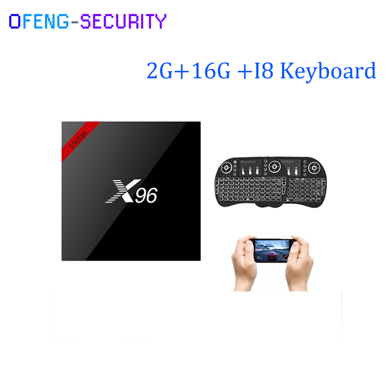 X96W Smart tv box with I8 Keyboard android 7.1 2GB RAM 16GB ROM Amlogic S905W Quad Core H.265 4K 2.4GHz WiFi Media Player IPTV