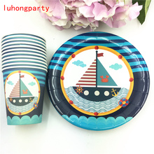 Sailboat theme 20pcs paper cup+20pcs plate for kids sailing boat favors Happy birthday voyage Tableware decoration