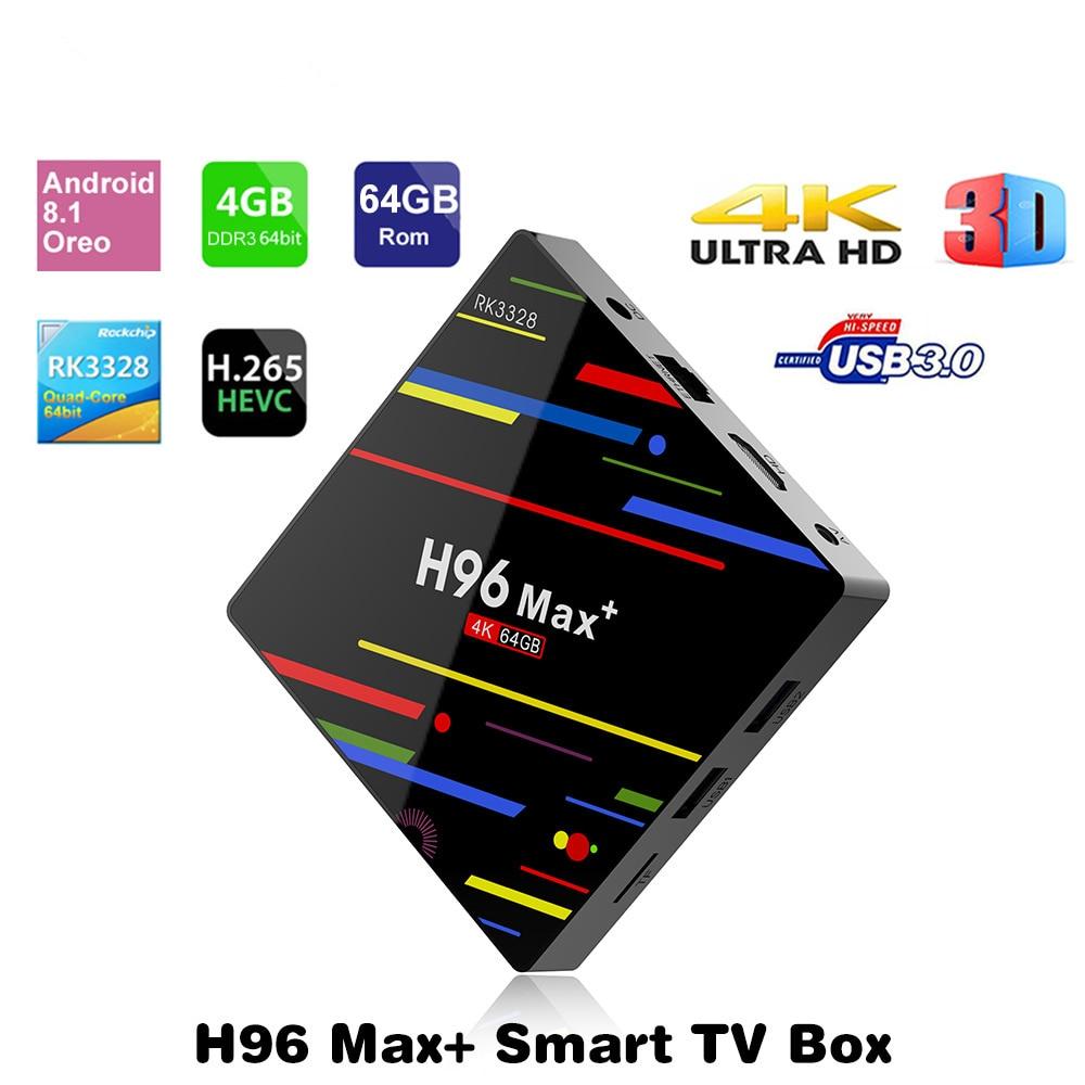 цена на H96 MAX+ Plus Android 8.1 4GB 64GB Rockchip RK3328 Smart TV BOX USB 3.0 4K 5G Dual WiFi Media player Android TV BOX