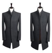 Stand collar grey casual long sleeve wool coat men 2016 trench jackets and coats mens wool coat overcoats dress winter S – 9XL