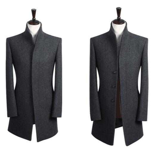 Stand collar grey casual long sleeve wool coat men 2017 trench jackets and coats mens wool coat overcoats dress winter S – 9XL